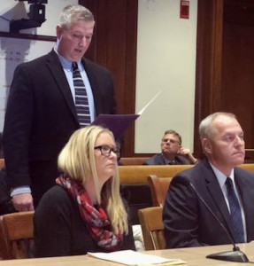 SPEAKING UP: At a State House hearing, Local 888 Secretary-Treasurer Tom McKeever and state dispatchers Nicole Annunziata and Michael Slater called for Improved  pensions for dispatchers.