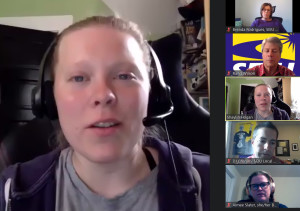 SPEAKING UP: Local 888 leader Shaylin Walsh-Hogan, from the Emerson College chapter, is shown on Zoom.